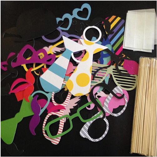 All'ingrosso Colorful Fun Lip decorazione di nozze Photo Booth Puntelli decorazione della festa nuziale favori maschere di partito 60Pcs / Set