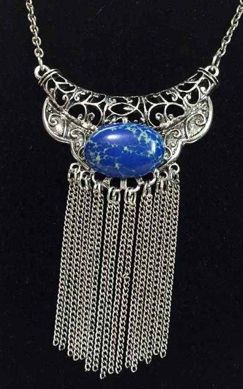 New silver ox filigree horn tassel necklace with blue agate retro boho style free shipping