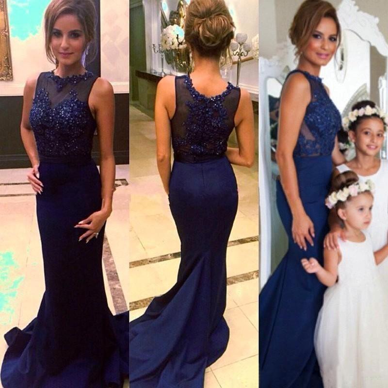 2018 blu scuro blu scuro abiti da sera in pizzo appliques crew stile sirena in rilievo donne abito piano lunghezza celebrità abiti del partito per le signore