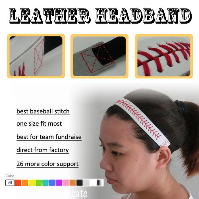 WHOLESALE 2016 26 colors Seamed Stitching Real Leather Softball Sports Team Headband free shipping