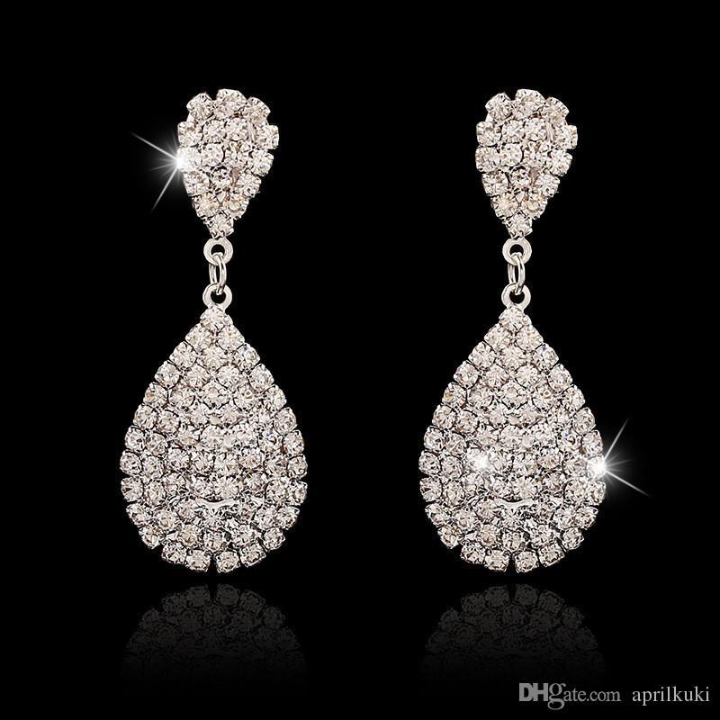 2016 أحدث النساء الأزياء والمجوهرات نمط الفضة مطلي كريستال حجر الراين اليدوية استرخى أقراط لفتاة قطرة الماء حلق