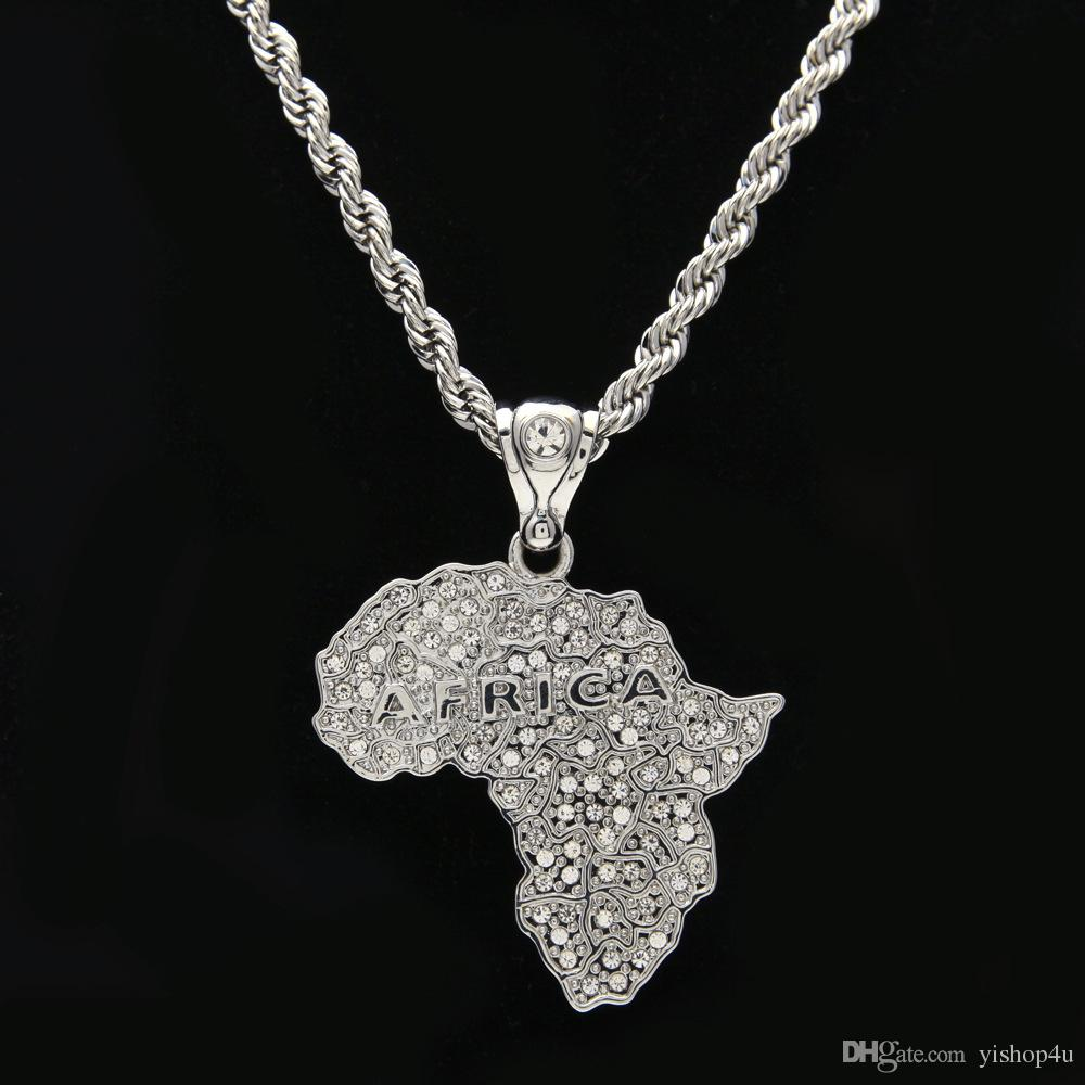Elegant-Store-A Africa Map Pendant Necklace for Women Men Silver//Ethiopian Jewelry African Maps Hiphop Item