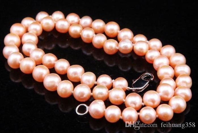 """Пресная вода розовый / фиолетовый / черный / белый жемчуг 17"""" ожерелье ювелирных изделий 6-7mm Размер перлы повелительницы"""