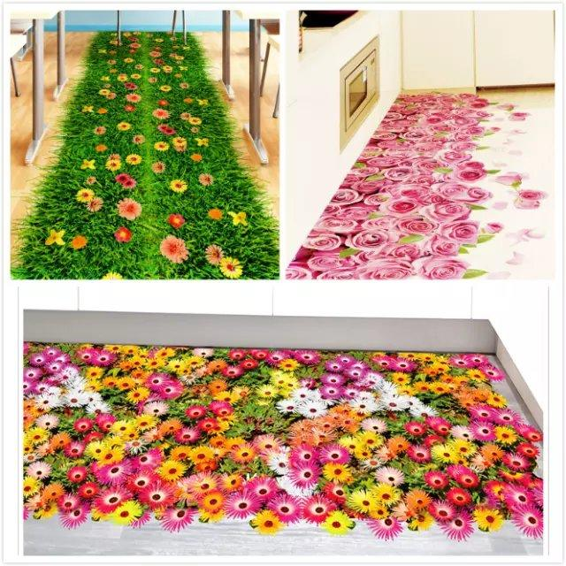3D Colorful Flower Wall Sticker Grass Butterfly Clover Skirting Line Flora Floor DIY Home Decal Furniture Kitchen Wedding Mural