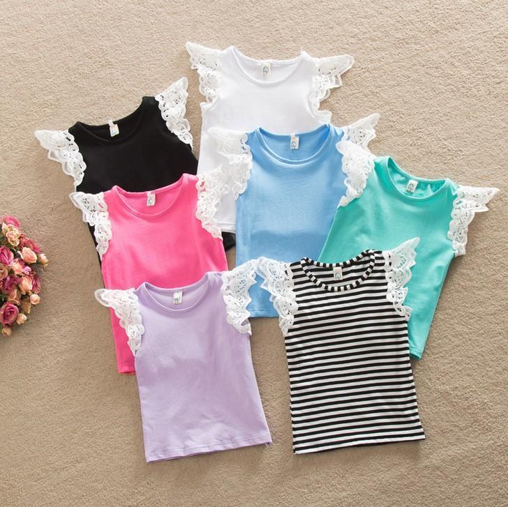 2016 Summer Baby girls Cotton T-shirt Lace Puff Sleeves Summer Top Vest Singlet Fashion Hollow Shoulder Strap Vest Sleeveless K7190
