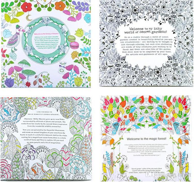New Baby Secret Garden Coloring Book Painting Drawing 24 Pages Animal Kingdom Enchanted Forest Relieve