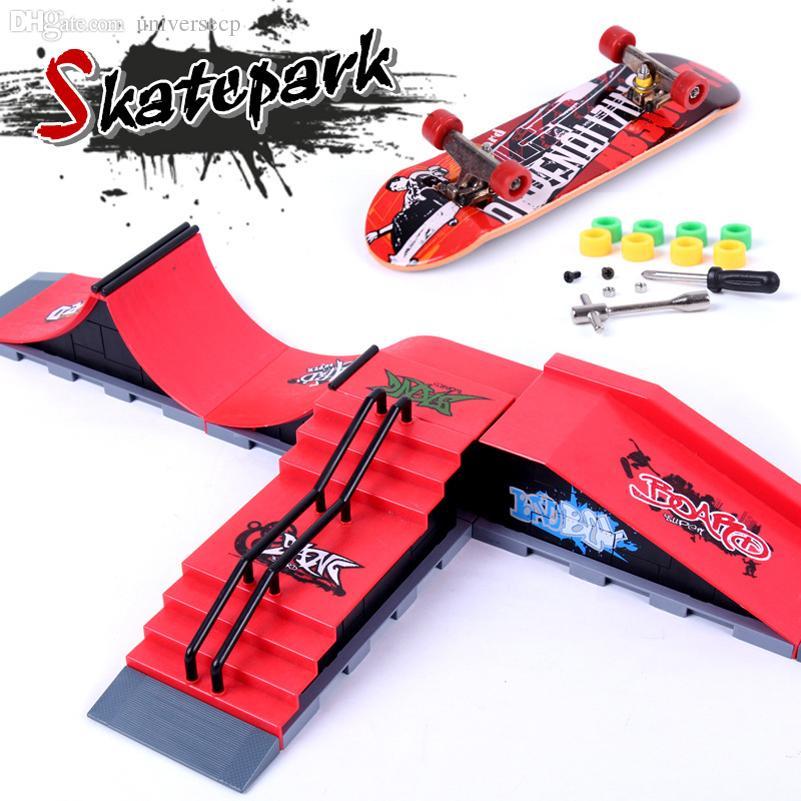 Al por mayor-Ultimate Parks Ramp Parts A-F Finger Skateboard Fingerboard Ramps Skate Park Para Tech Dec Mini Skateboard Toy Finger Board Toy