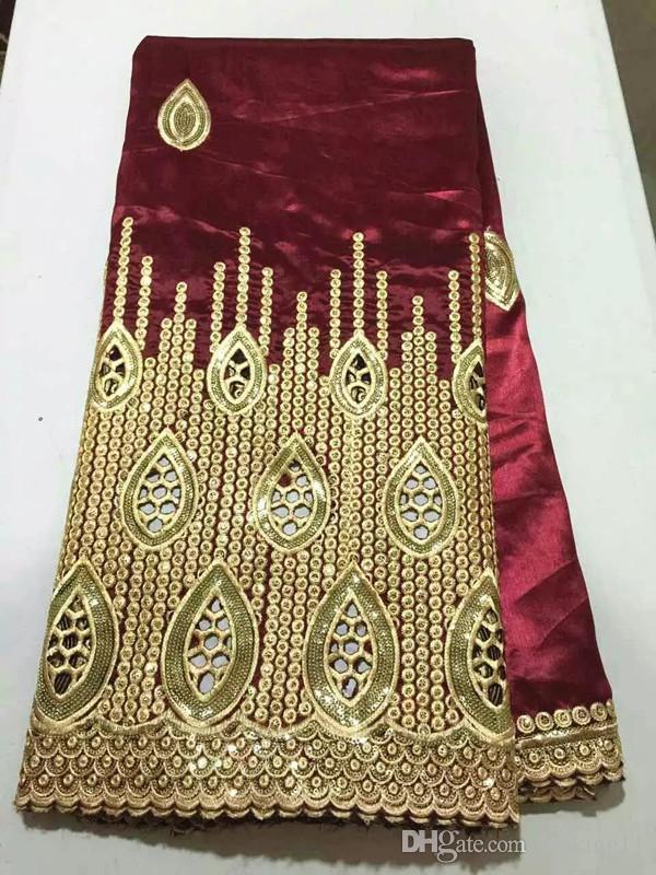 5 jardów / lot Luksusowe złote cekiny dekoracje koronki z winem Afryki George Koronki Tkaniny na imprezowe Odzież OG40-1