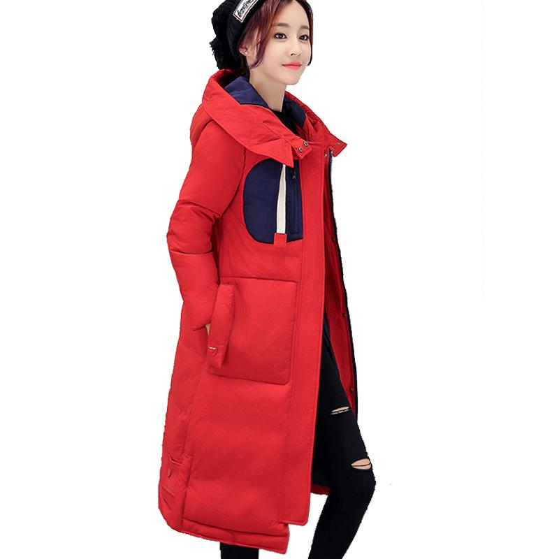 2017 New Fashion Korean Long Wadded Jacket Female Women Winter Hodded Down Cotton Jacket Slim Parkas Ladies Coat Plus Size