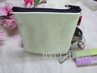 Cream White canvas coin purses DIY Mens blank plain cotton small bags red zipper Fashion casual wallets key cases pouches