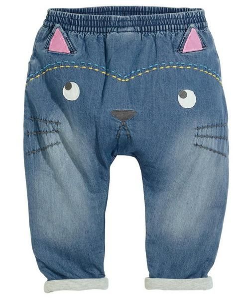 Baby Jeans Super Soft Cats Cartoon PP Harlan Jeans Ragazze Cartoon Cat Applique Pantaloni per bambini Abbigliamento per bambini