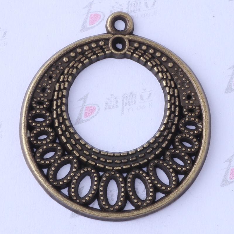 60pcs / lot antique argent / bronze charmes pendentifs ronds bijoux bricolage alliage de zinc en forme de colliers ou bracelets 3454