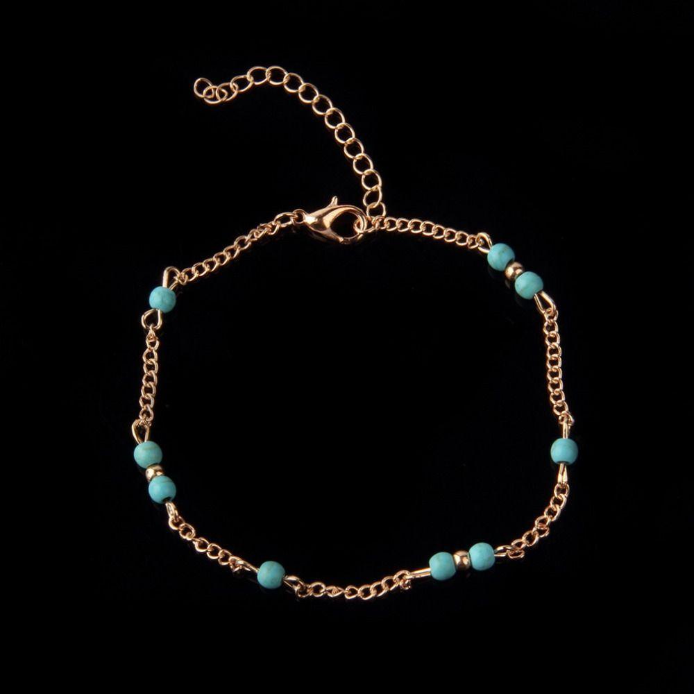 Wholesale-1Pcs Unique NTurquoise Beads Silver Chain Anklet souvenir Ankle Bracelet Foot Jewelry Fast New Hot Fashion