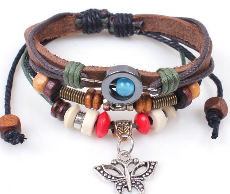 Hot Fashion retro butterfly bracelet wooden bead hand-woven bracelet popular models in Europe and America beaded bracelet jewelry