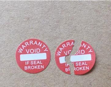 직경 10 mm 보증 씰링 라벨 스티커 void 손상된 경우, 몇 년 동안 범용, 5000pcs / lot 무료 배송