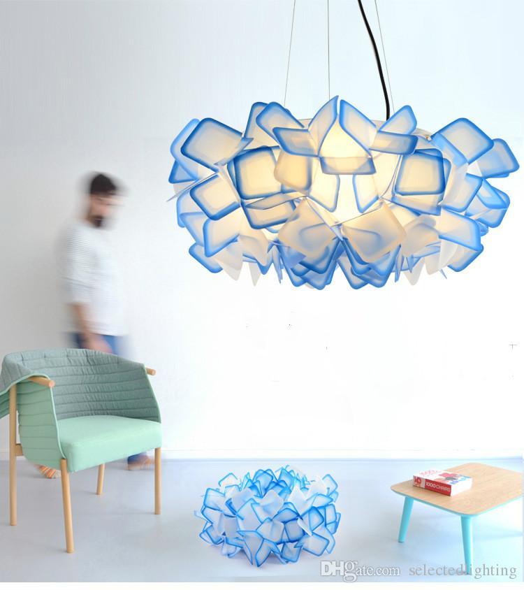تصميم جديد clizia تعليق مصباح الحرفية الملونة التدرج الاكريليك زهرة أدى قلادة ضوء غرفة الطعام غرفة شنقا ضوء 110 فولت 220 فولت