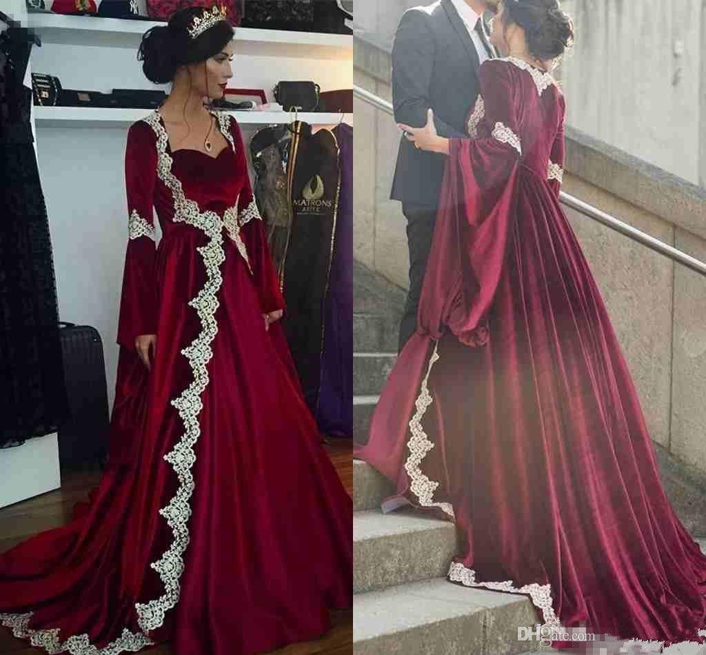Kaftan Kleider Abendgarderobe 2019 Arabisch Dubai Langarm Abendkleider Hot Burgund Samt Mit Appliques Vintage Party Kleid