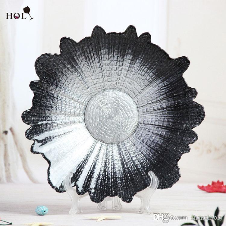 Décor décoratif à la maison de vente chaude weddng plaque de chargeur décorative, plaque de verre de chager