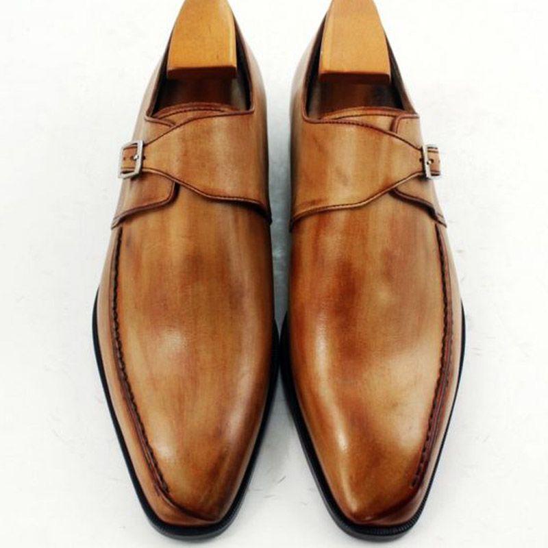 Мужчины платье обувь монах обувь оксфорды обувь на заказ обувь ручной работы мужская обувь из натуральной телячьей кожи квадратный носок цвет коричневый HD-N143