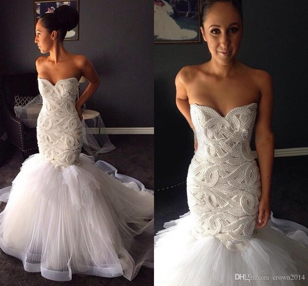 2019 Dentelle Perles de mariée sirène Robes sexy chérie Robes de mariée Tulle Robe de Noiva luxe dos ouvert Traîne Robes de mariée