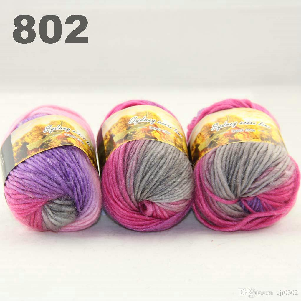 colorful hand-knitted wool line segment dyed coarse lines fancy knitting hats scarves thick line Hot Pink Baby Pink Grey 522-801