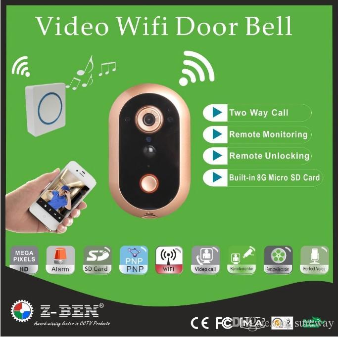 Kostenloser Versand Video Türsprechanlage WIFI Türklingel HD 720 P IP Tür Kamera 720 P Wireless Intercom Video Alarm Türklingel Unterstützung IOS Andriod
