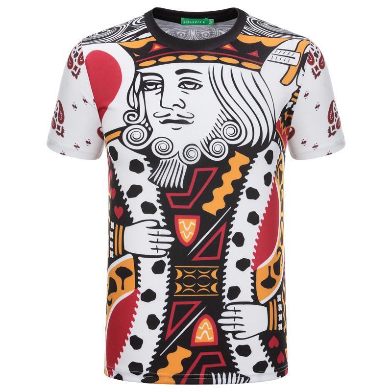 2016 Summer Fashion 3D Motif Hommes T-shirt Graphique Poker Impression À Manches Courtes Col Rond Garçons Tops Hommes T Shirts