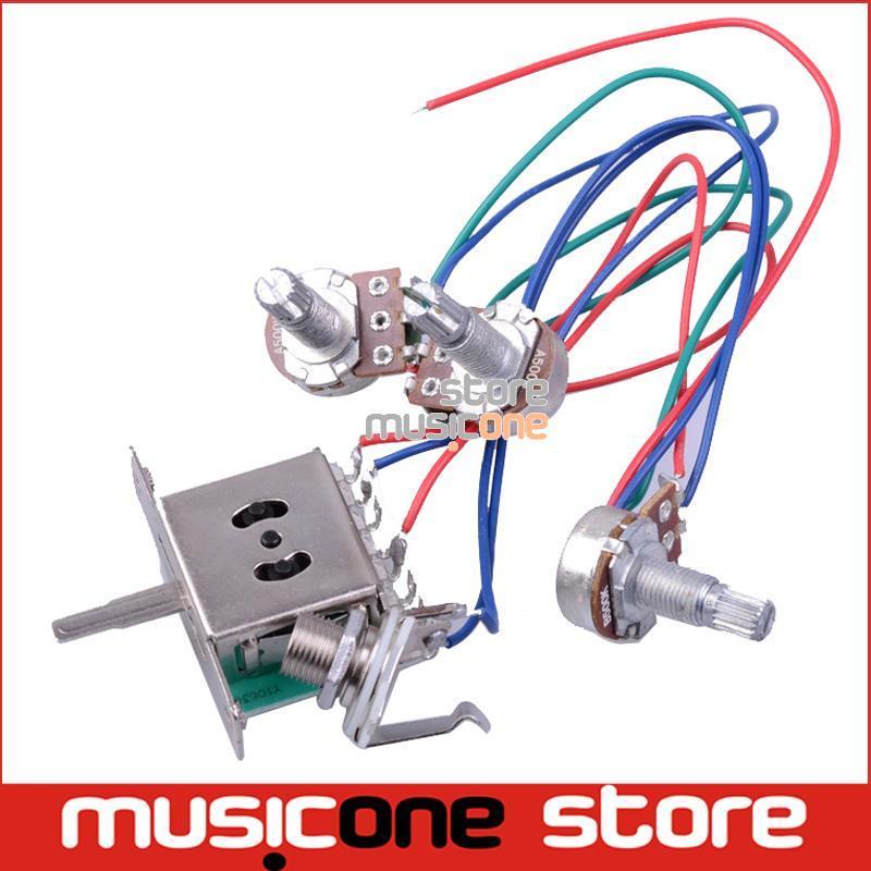 Kablo Tesisatının Kablolu / 5 yönlü Anahtarı / jak FD Yedek Gitar Ücretsiz nakliye için 500k Tencere /