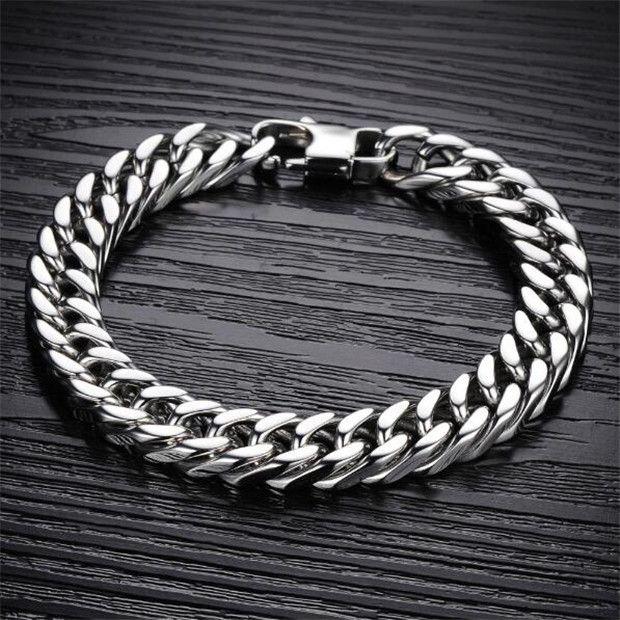 Simple Punk Design Man Link Chain Bracelets Fashion 19cm/20cm/21cm/22cm Long Full Stainless Steel Charm Men Jewelry