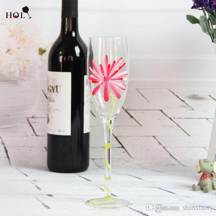 Verre de vin rouge peint