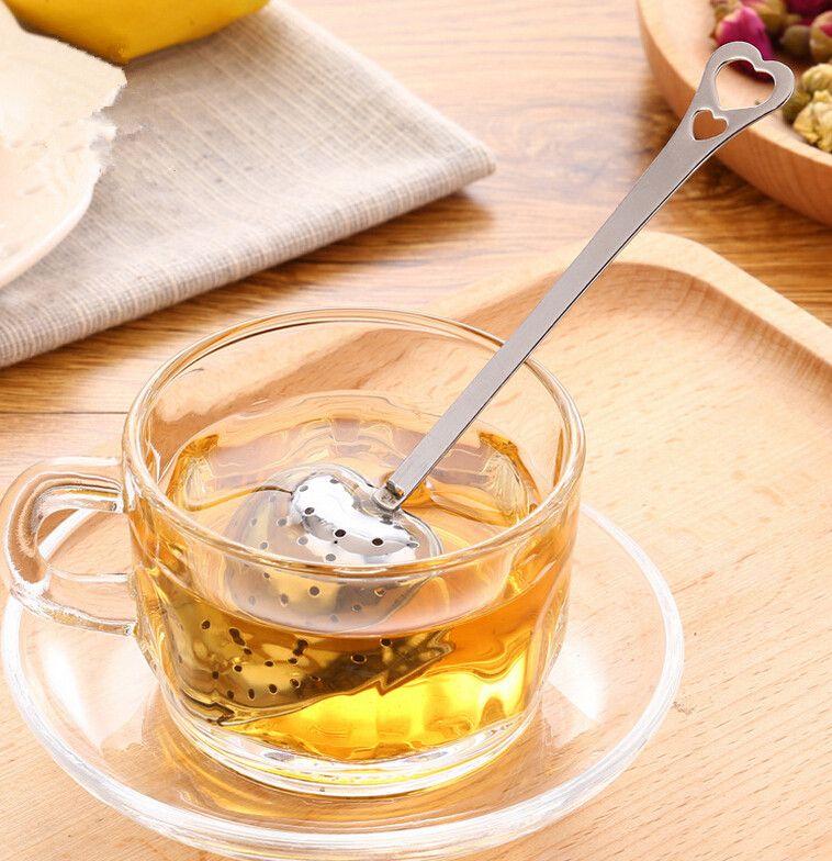 "Hot ""Tea Time"" Convenience Herz Tee Infuser Herzförmige Edelstahl Kräutertee Infuser Löffel Filter DHL Frei 1000 stücke"