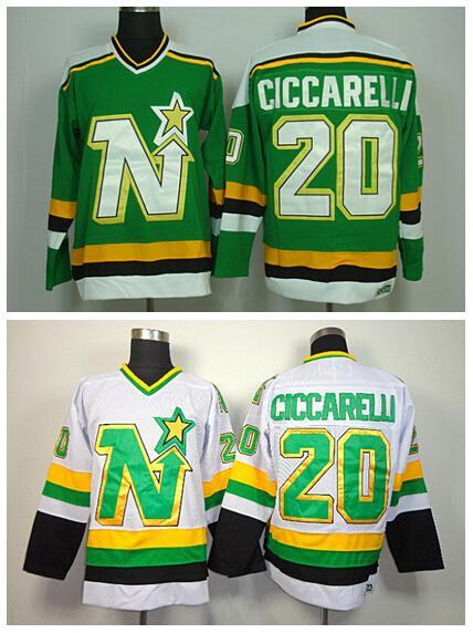20 Maglia Dino Ciccarelli Dallas Stars Retro Maglie da Hockey su ghiaccio per lo sport Fans All Stitched Team Colore Verde Verde