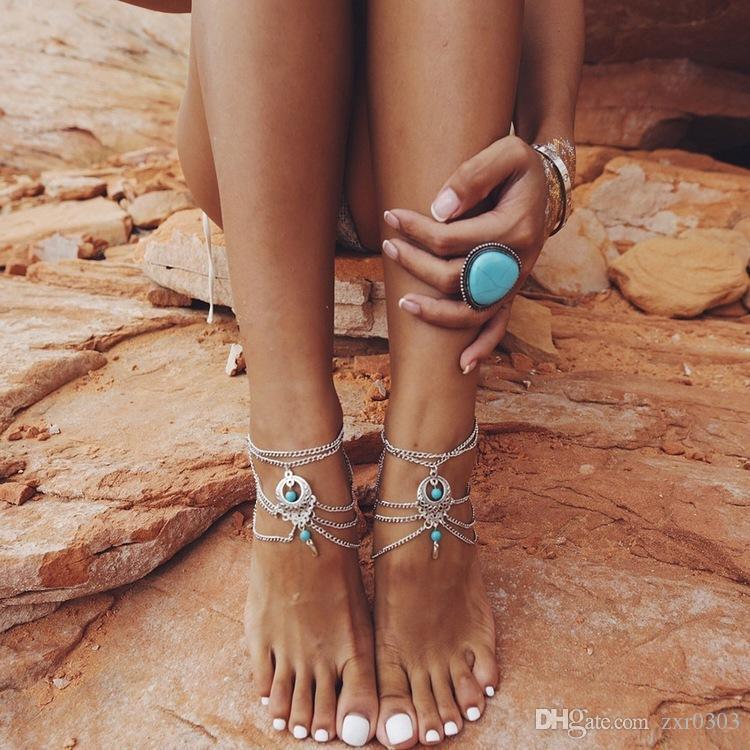 2017 бохо браслет женщин лодыжке браслет Cheville серебряная цепь ноги ножной браслет для женщин ювелирных подарок
