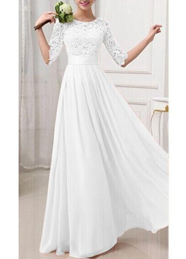 Hot Sale Lace and Chiffon 1/2 Long Sleeve A-Line Wedding Dresses 2016 with Jewel Collar Sweep Train Cheap Wedding Gowns Custom Made
