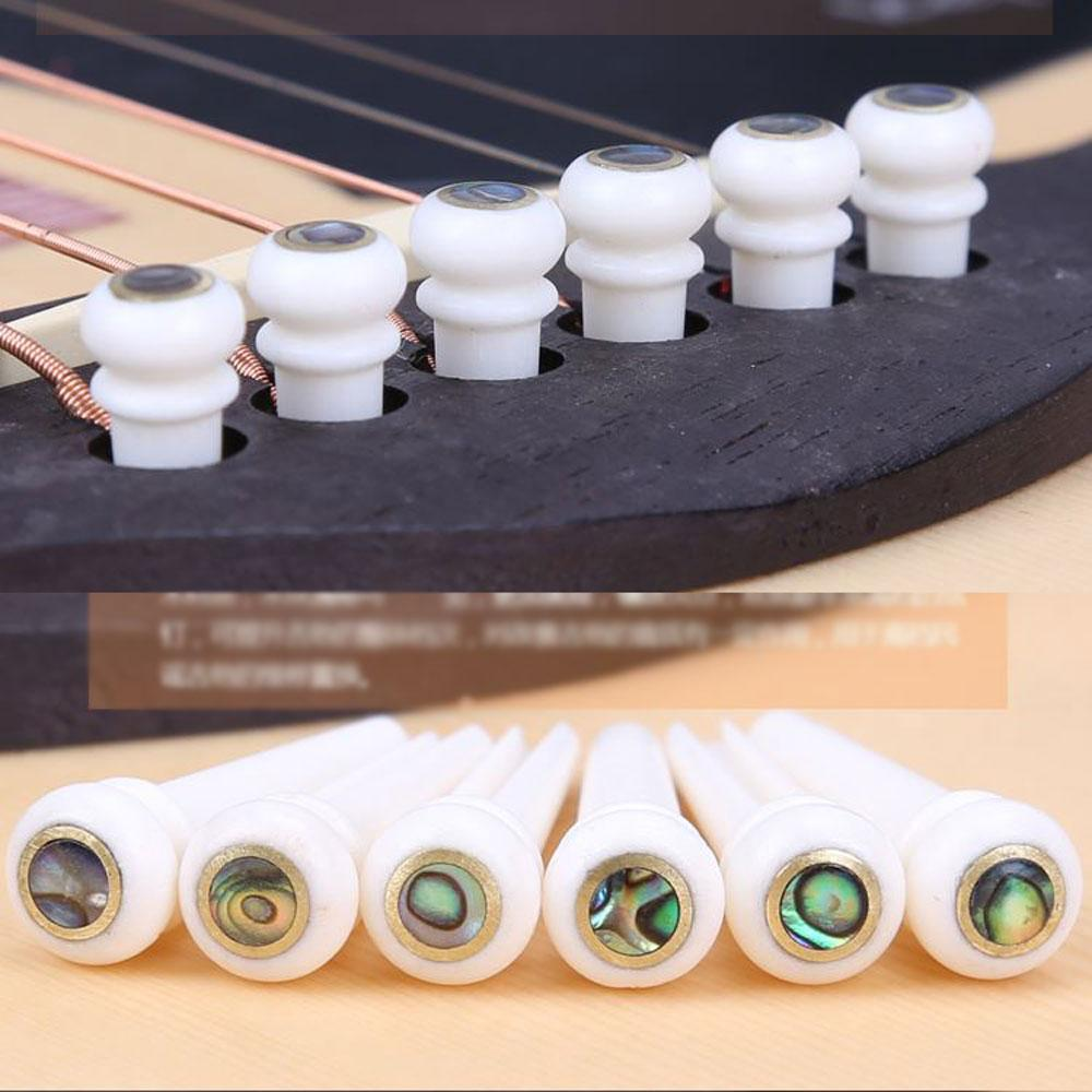 6Pcs Cattle Bone Material Acoustic Guitar Bridge Pins with Pearl Shell Dot Y7R6