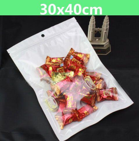 100pcs 30 * 40cm 흰색 / 클리어 셀프 인감 포장 가방 Resealable 지퍼 플라스틱 소매 포장 가방, 정지 구멍이있는 지퍼 잠금 패키지