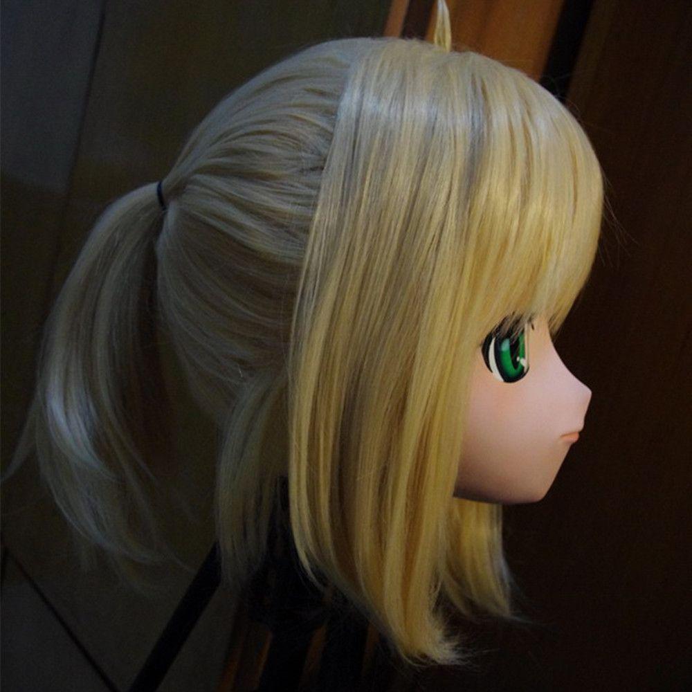 (C2-019) Voller Kopf Weibliches Gesicht Anime KIG Maske Cosplay Kigurumi Zentai Anzug Crossdresser Japan Cartoon Charakter Rollenspiel