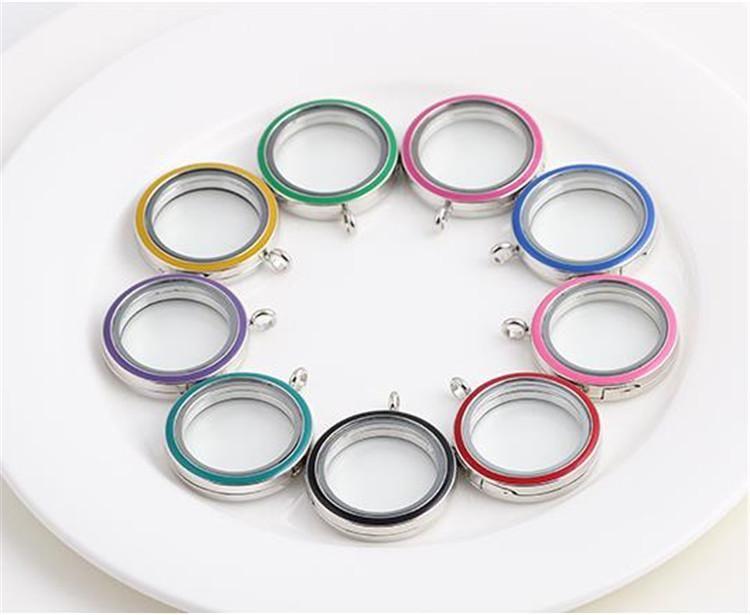 Su geçirmez karışık 9 renkler 30 * 30mm Paslanmaz Çelik Pembe Manyetik kapatma Yüzer Yaşam Lockets DIY HD Cam gümüş yuvarlak Madalyon