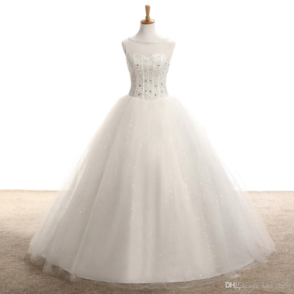 Vestido de baile Princesa Vestidos de Casamento 2017 Mais Novo Ver Através de Tule Princesa Nupcial Cristal Brilhante de Alta Qualidade Beads Lantejoulas Low Back Venda Quente