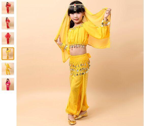 2018 Bauchtanz Für Mädchen Bauchtanz Kostüm 3PS (Top + Taille Chain + Pants) Kleidung Für Tanzen 3 farben Freies Verschiffen Indisches Kleid