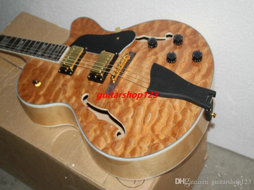 Özel Mağazalar Kaplan alev F delik doğal Caz Elektro Gitar Toptan gitar ücretsiz kargo