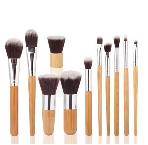 Escovas de maquiagem compõem Bambu de madeira 11 pcs profissional escova de cosméticos kit de fibra de fibra com desenho saco saco de sombra foundation shade ferramentas