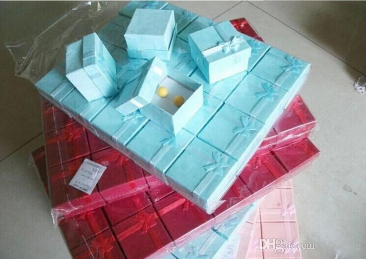 Wholesale Cute Jewelry Boxes Bag Multi Colors Jewelry Box, Ring Earrings Box 4*4*3cm Packing Gift Jewellery Storage free Shipping