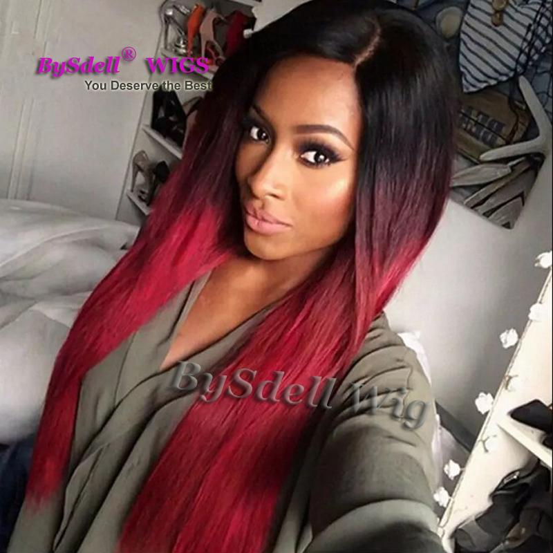 Bezauberndes ombre Schwarzes Wein-Rotfrauen Haarschönheit 24inch lange seidige gerade volle Perücke geben Verschiffen frei