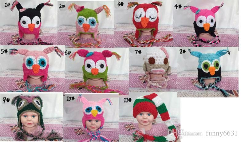 WINTER Hot sales Baby hand knitting owls hat Knitted hat Children's Caps 11 Color crochet hats for kids BOY AND GIRL HAT FREE SHIPPING