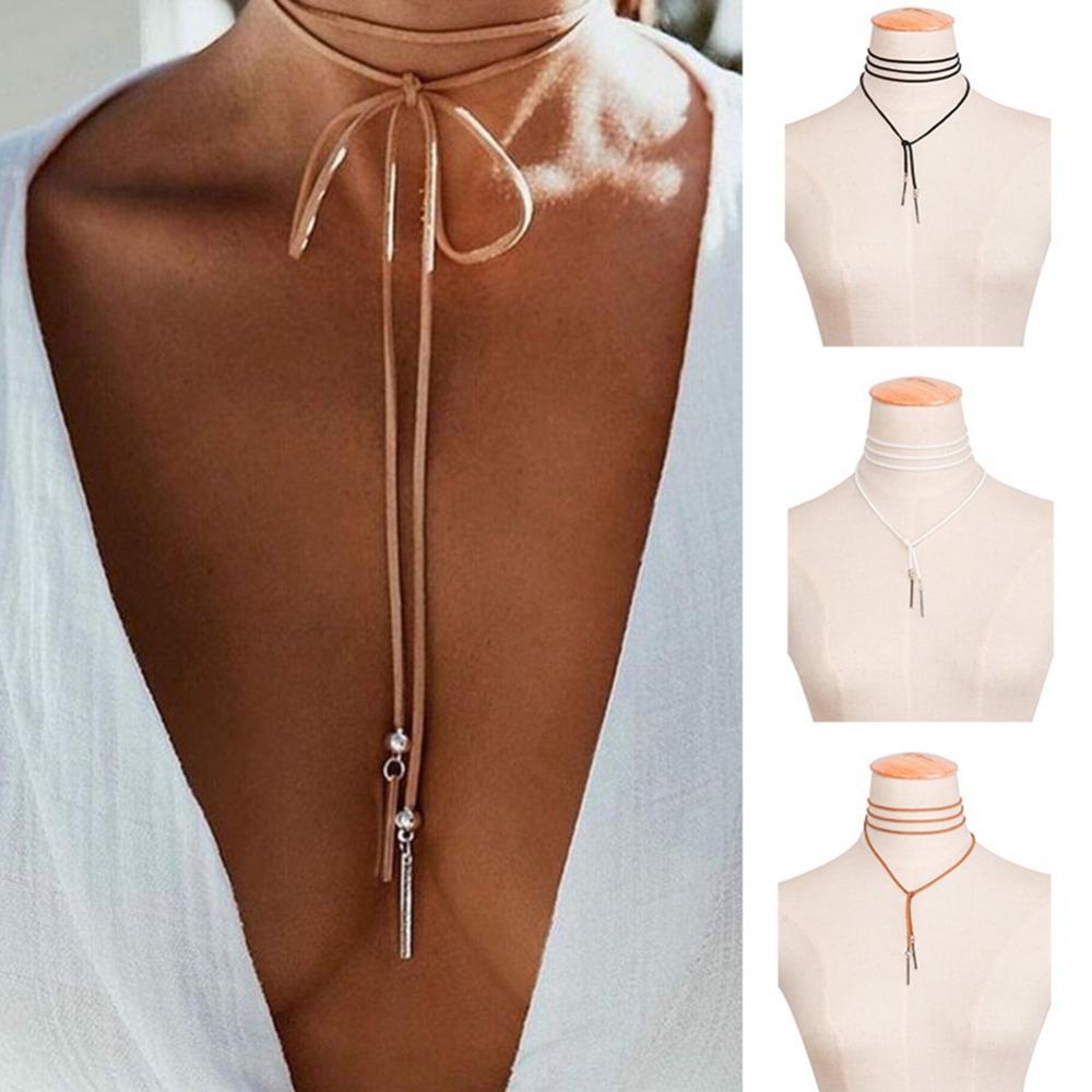 Brown Leather Corde Collier Long Silver Tube Pendentif Rétro Gothique Velours Sautoirs Femmes En Daim Cou Accessoires Bijoux # 88384