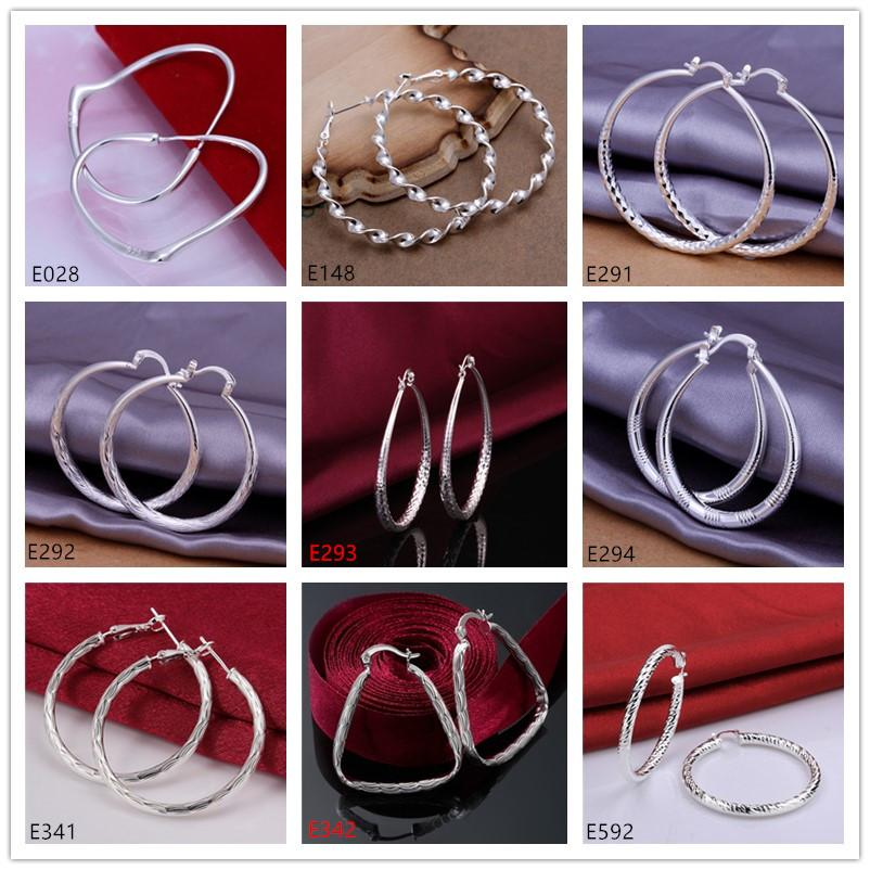 Brand new women's plated sterling silver earring 10 pairs a lot mixed style EME59,high grade fashion 925 silver plate Circles round earrings