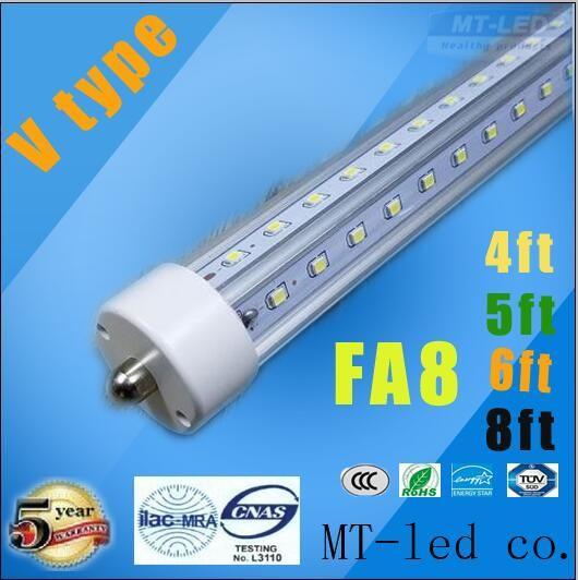 T8 V-Shaped 4ft 5ft 6ft 8ft LED Tubes Lights Cooler Door Led Tube Single Pin FA8 28W 32W 45W 65W Fluorescent LIGHTS AC 85-265V
