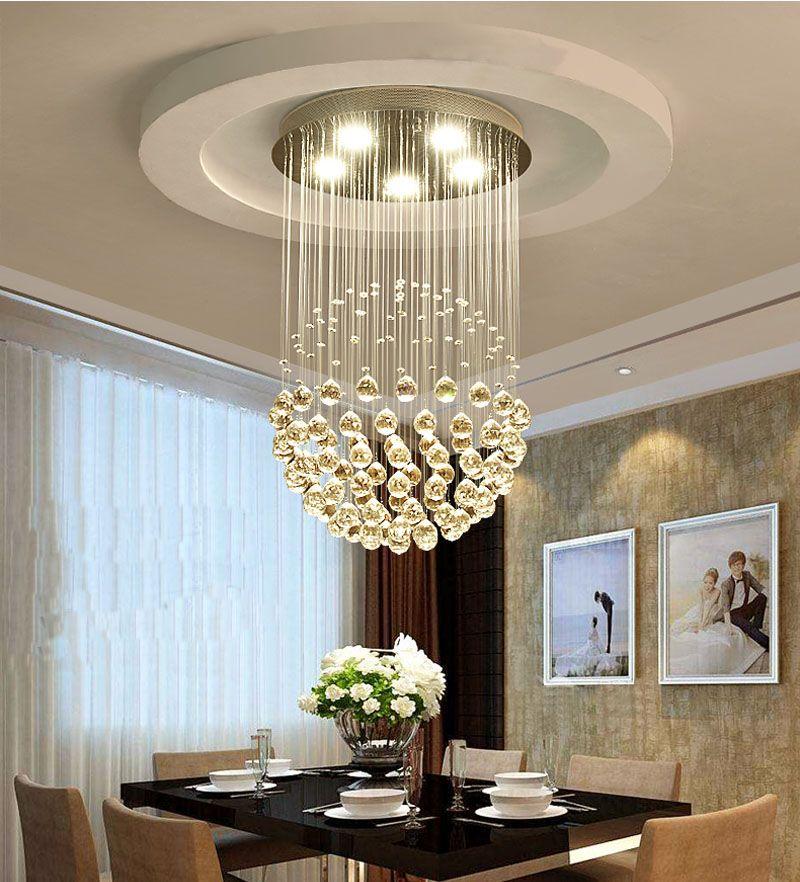 Yeni Modern LED K9 Topu Kristal Kolye Işık Avize Temizle Top Tavan Işık