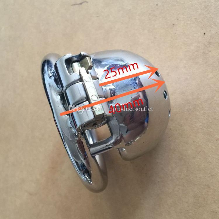 """قفل جديد تصميم 25MM قفص طول الفولاذ المقاوم للصدأ سوبر ذكر العفة الأجهزة الصغيرة 1 """"قفص الديك قصيرة للرجال"""